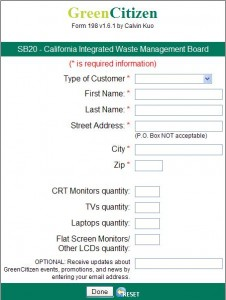Form filled out by customers when recycling an SB20 unit at GreenCitizen