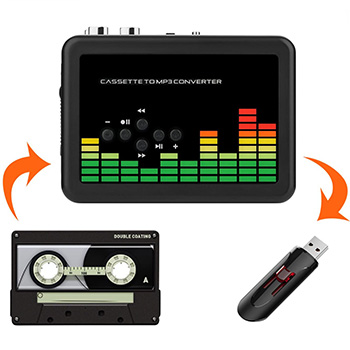 Mypin-USB-Cassette-to-MP3-Converter with cassette tape and usb