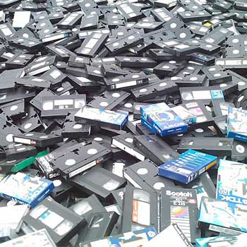 A pile of VHS tapes that will be recycled