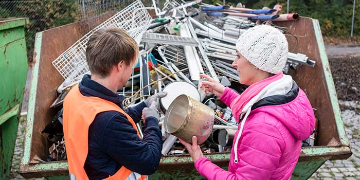 scrap metal being collected