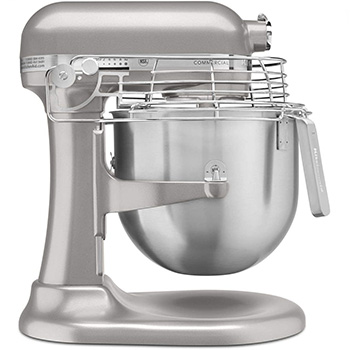 A silver KitchenAid Countertop Mixer with a bowl guard