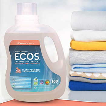 ECOS laundry detergent in one bottle with towels behind it