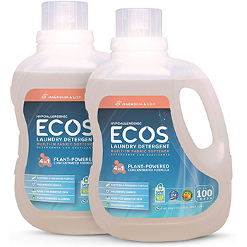 ECOS laundry detergent in two bottles