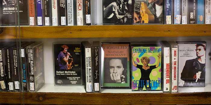 donated vhs tapes in a library