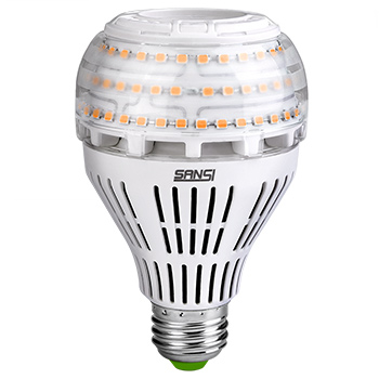 white background with a SANSI-27W-Dimmable-LED-Bulb