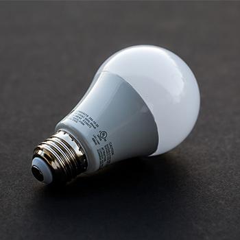 a led bulb on a table