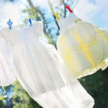 a clothesline with clothes hanging on it