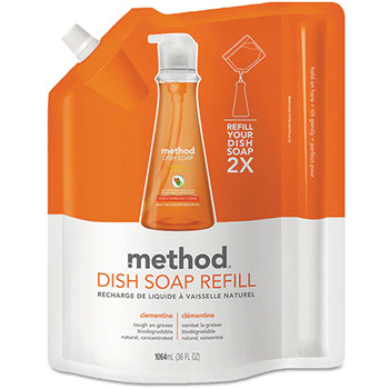 Method dish soap clementine in a refillable bag