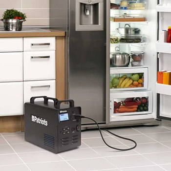 A fridge beside a patriot power generator 1800