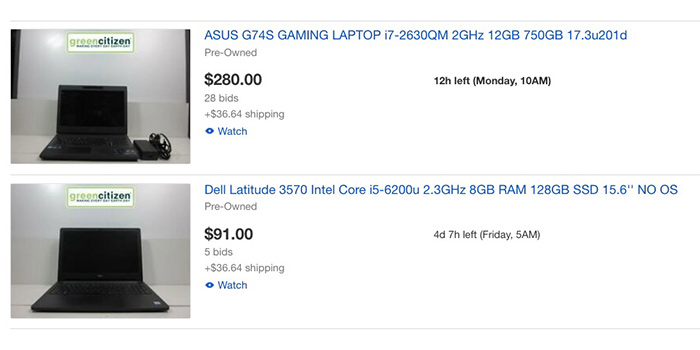 GreenCitizen's eBay store has refurbished laptops for sale