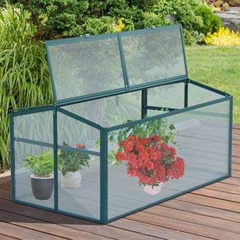 A single Outsunny 51 Inch Aluminum Vented Cold Frame Mini Greenhouse Kit