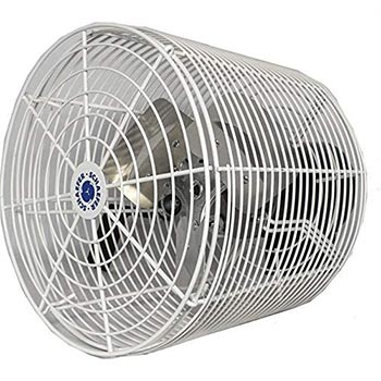 A white Schaefer Versa-Kool 12 Deep Guard Greenhouse Circulation Fan