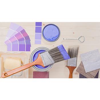 Wood with purple latex paint