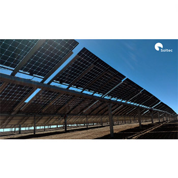 two sided solar modules raised from the surface