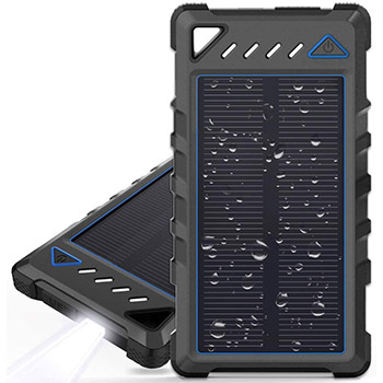 BEARTWO 10000mAh Portable Solar Charger black and blue