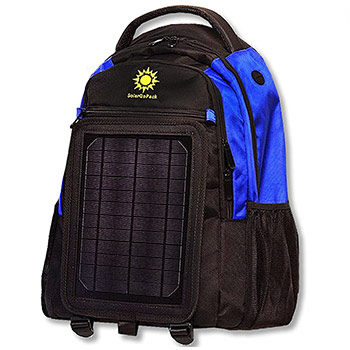 SolarGoPack Solar Powered Backpack black and blue