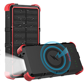 OUTXE 25000mAh Wireless Solar Power Bank black and red
