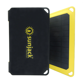 SunJack 15W Portable Solar Charger and Powerbank black and yellow