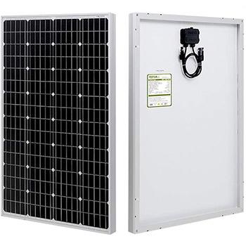 An HQST 100 Watt 12 Volt Monocrystalline Solar Panel