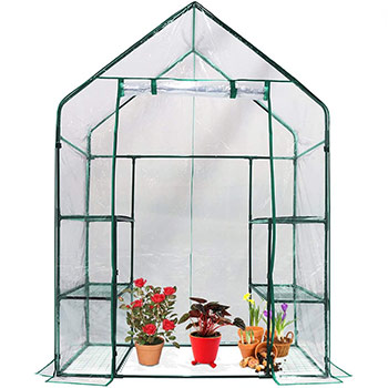 A single Quictent Greenhouse Mini Walk-in 3 Tiers 6 Shelves