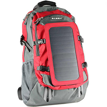 ECEEN 7W Solar Backpack red and grey