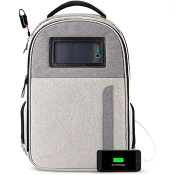 Lifepack Solar Powered and Anti-Theft Backpack white