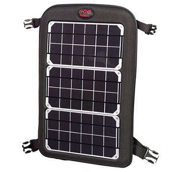 solar power panel on a backpack