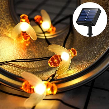 SKYFIRE Solar Powered Honey Bee String Lights one set