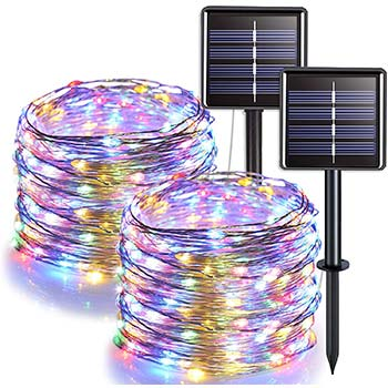 JMEXSUSS 100 LED Solar String Lights two packs