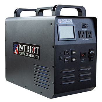 A patriot power generator in front of a white background