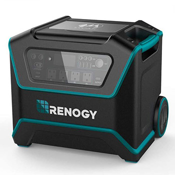 A renogy lycan powerbox in front of a white background