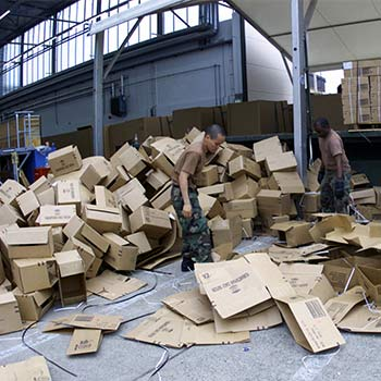 Boxes being packed in a recycling center
