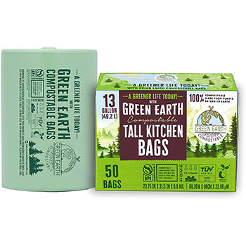 Green Earth Compostable Biodegradable Tall Kitchen Trash Bags box