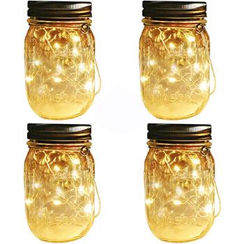 White background with four Aobik Mason Jar Solar Lights Lanterns on top