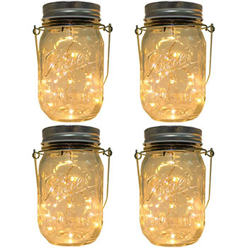 White background with four CHBKT Solar-Powered Mason Jar Lights on top