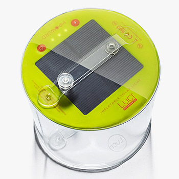 White background with Luci Outdoor 2.0 Solar Lantern on top