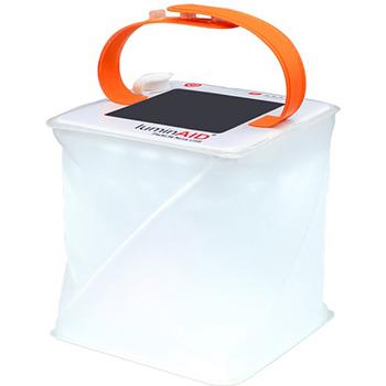 White background with LuminAID PackLite Nova USB Solar Lantern on top