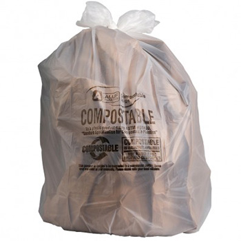 White background with Plasticplace 12-16 Gallon Compostable Trash Bags