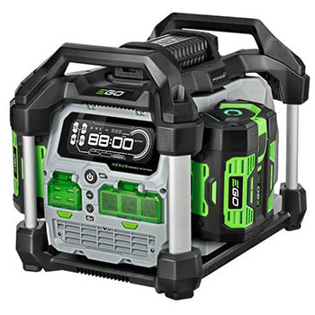 White background with a green and black portable generator
