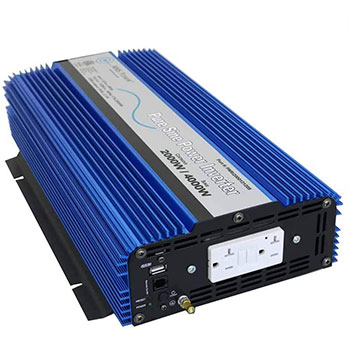 White background with an AIMS Power 2000 Watt Pure Sine DC to AC Power Inverter
