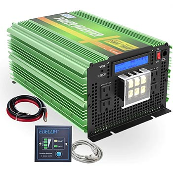 White background with an EDECOA Pure Sine Wave Power Inverter 3500W
