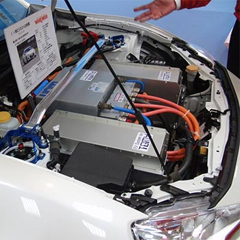 White car with an electric vehicle battery