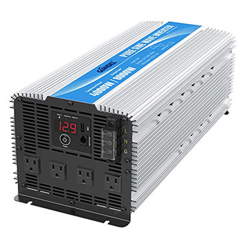 White background with a GIANDEL 4000W Heavy Duty Pure Sine Wave Power Inverters