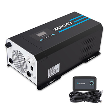 White background with a Renogy 3000W 12V Pure Sine Wave Inverter Charger with LCD Display