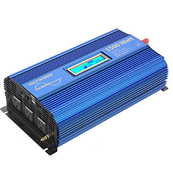 White background with a VOLTWORKS 1500W Pure Sine Wave Power Inverter